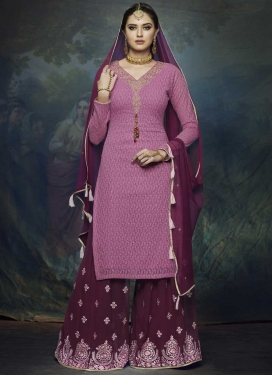 Hot Pink and Wine Faux Georgette Palazzo Straight Salwar Suit