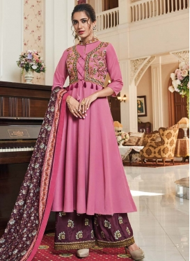 Hot Pink and Wine Maslin Readymade Salwar Suit