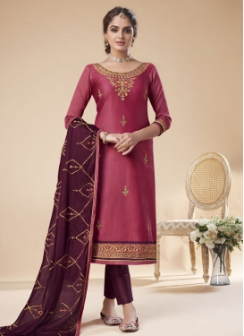 Hot Pink and Wine Pant Style Pakistani Salwar Suit For Ceremonial