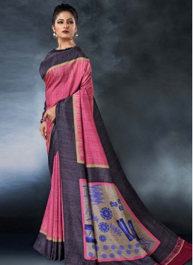 Hot Pink and Wine Traditional Designer Saree For Ceremonial
