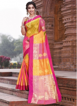 Hot Pink and Yellow Weaving Traditional Designer Saree