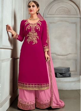 Hot Pink Faux Georgette Party Trendy Palazzo Salwar Suit