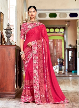 Hot Pink Patch Border Satin Georgette Classic Designer Saree