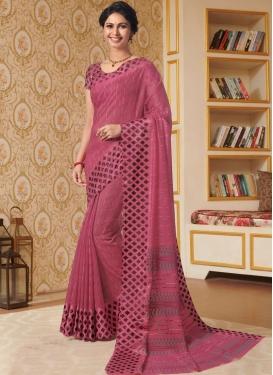 Hot Pink Printed Linen Classic Designer Saree