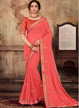 Hypnotic Faux Chiffon Salmon Traditional Saree