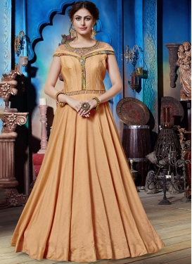 Hypnotic Peach Embroidered Art Silk Designer Gown