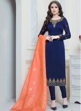 Hypnotizing Georgette Satin Embroidered Navy Blue Trendy Churidar Salwar Suit