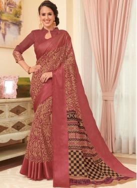 Hypnotizing Linen Printed Trendy Saree