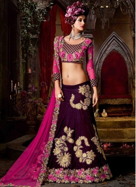 Immaculate Rose Pink and Wine Velvet A Line Lehenga Choli