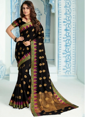 Impeccable Black Ceremonial Traditional Designer Saree