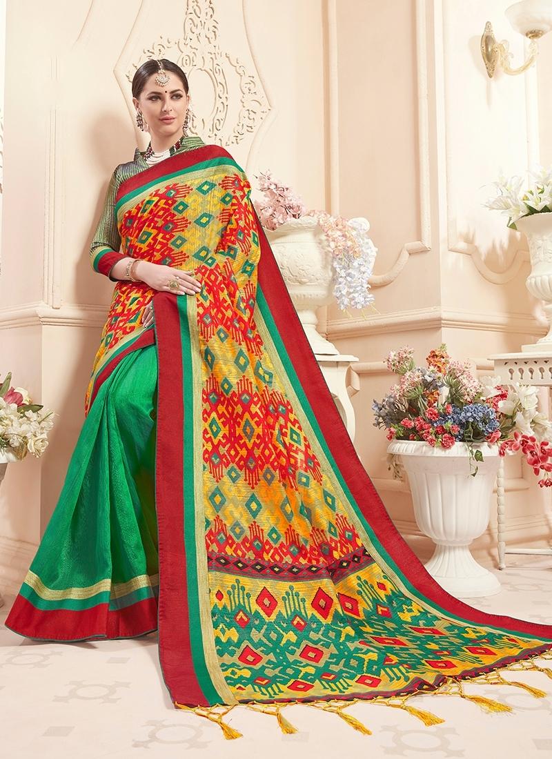 Imposing Art Silk Print Multi Colour Classic Saree