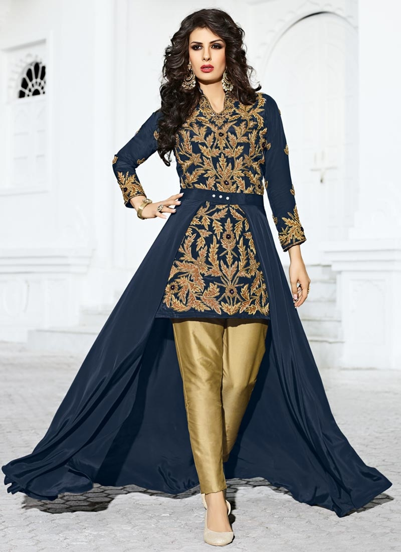 Imposing Beige and Navy Blue Beads Work Trendy Pant Style Suit