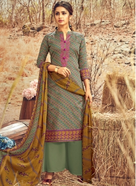 Imposing Cotton Abstract Print Designer Palazzo Suit