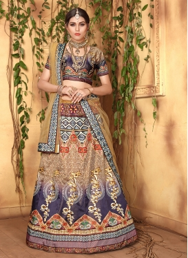 Imposing Digital Print Multi Colour Satin Designer Lehenga Choli