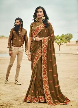 Impressive Art Silk Olive Embroidered Traditional Designer Saree