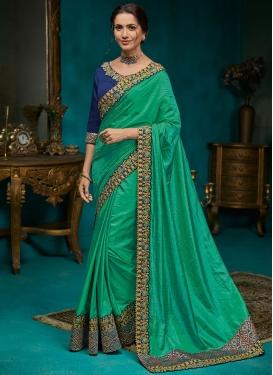 Incredible Embroidered Poly Silk Sea Green Classic Designer Saree