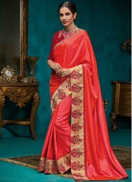 Innovative Patch Border Poly Silk Designer Traditional Saree