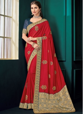 Integral Poly Silk Embroidered Classic Saree