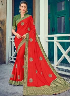 Integral Red Art Silk Designer Traditional Saree