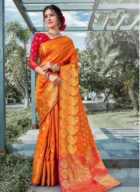 Integral Weaving Orange Designer Traditional Saree