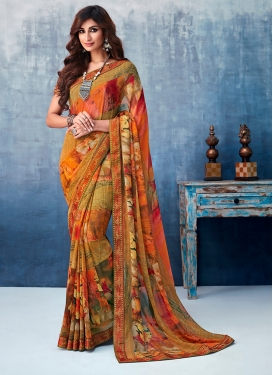 Intricate Abstract Print Multi Colour Faux Georgette Printed Saree