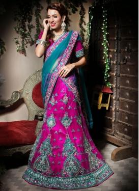 Intricate Border Net Rose Pink Trendy Lehenga Choli