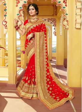 Intricate Red Embroidered Classic Saree