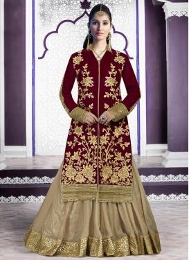 Intrinsic Beige and Maroon Net Designer Kameez Style Lehenga