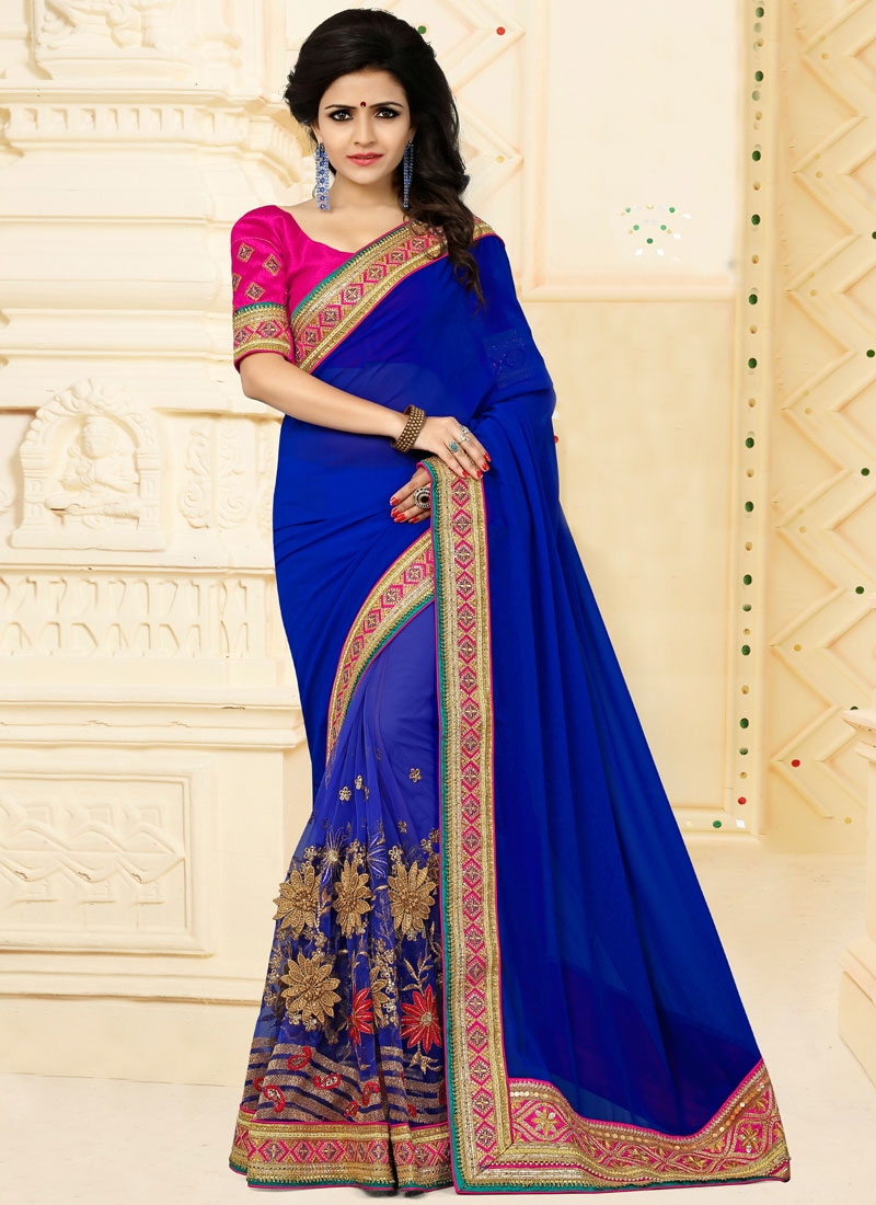 Intrinsic Blue Net Designer Traditional Saree