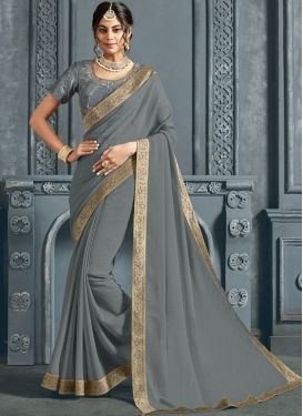 Invaluable Faux Chiffon Patch Border Grey Traditional Saree