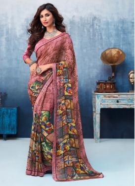 Invaluable Faux Georgette Multi Colour Printed Saree