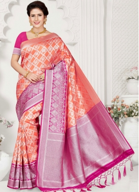 Invaluable Weaving Art Silk Peach Designer Traditional Saree