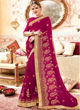 Invigorating Embroidered Magenta Saree