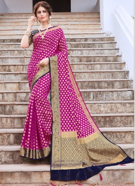 Invigorating Rose Pink Traditional Designer Saree