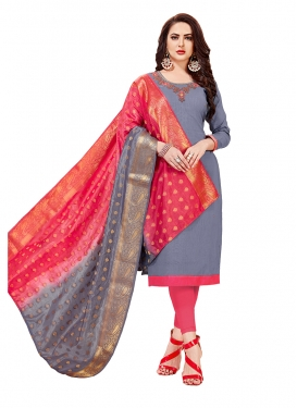 Irresistible Grey Cotton Churidar Designer Suit