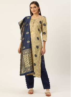 Jacquard Cream and Navy Blue Pant Style Straight Salwar Kameez