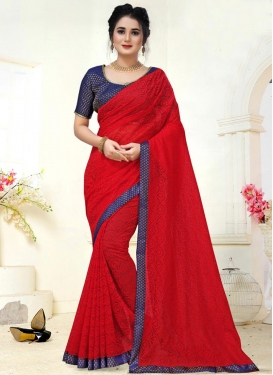 Jacquard Navy Blue and Red Designer Contemporary Style Saree For Casual