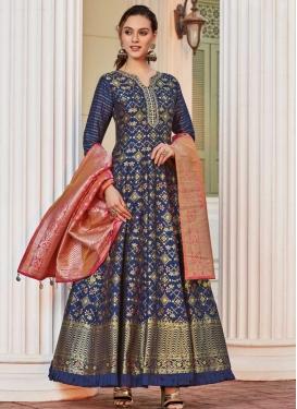 Jacquard Readymade Floor Length Gown