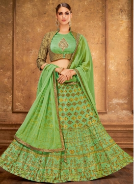 Jacquard Silk A Line Lehenga Choli For Bridal