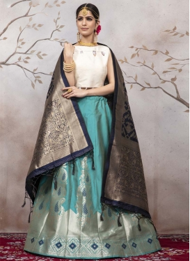 Jacquard Silk Aqua Blue and White A - Line Lehenga