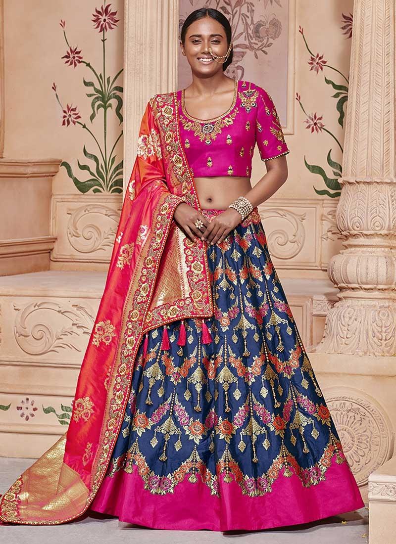 Jacquard Silk Beads Work Designer Classic Lehenga Choli