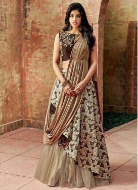 Jacquard Silk Beige and Coffee Brown Embroidered Work Trendy Designer Lehenga Choli