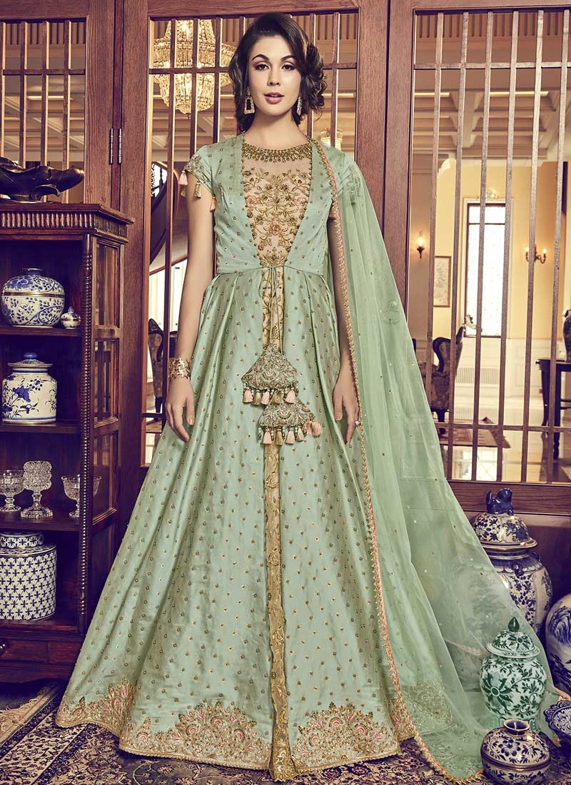 Jacquard Silk Beige and Mint Green Beads Work Jacket Style Floor Length Suit