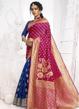Jacquard Silk Blue and Fuchsia Designer Half N Half Saree For Casual