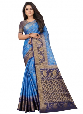 Jacquard Silk Blue and Navy Blue Trendy Classic Saree