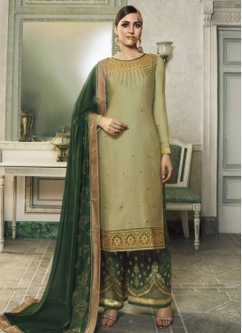 Jacquard Silk Bottle Green and Olive Palazzo Style Pakistani Salwar Kameez