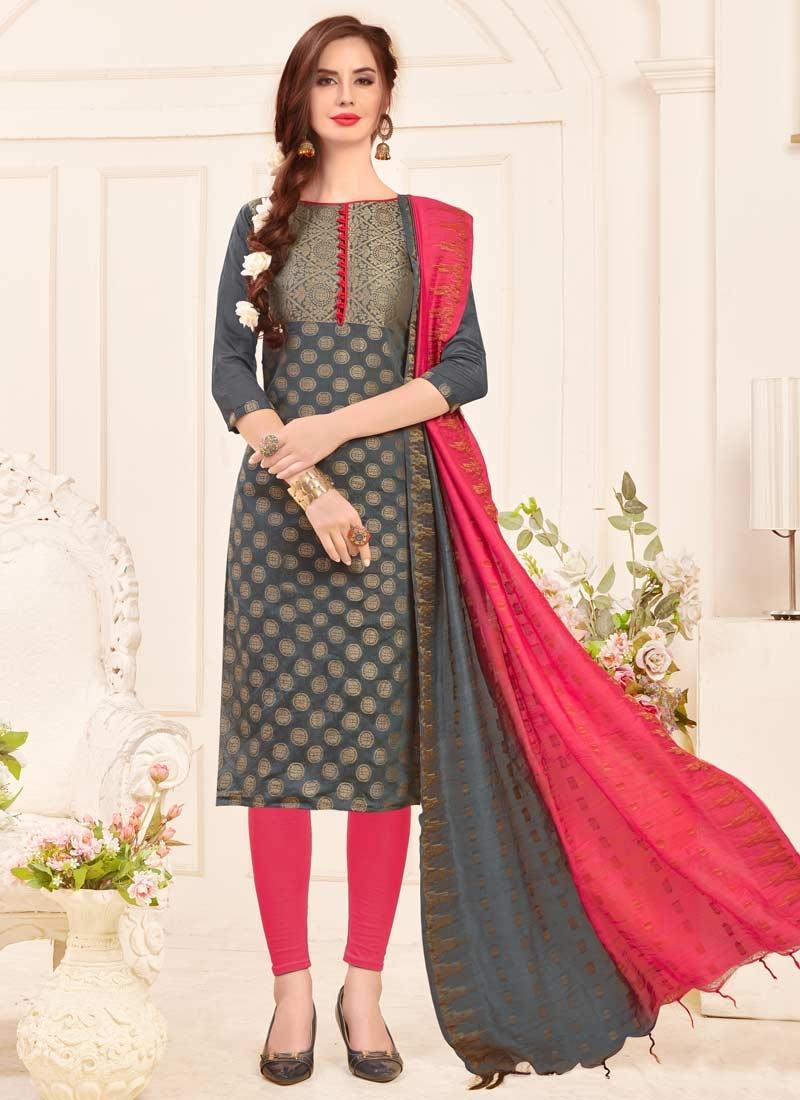 Jacquard Silk Churidar Salwar Suit
