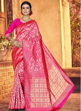 Jacquard Silk Contemporary Style Saree For Casual