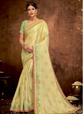 Jacquard Silk Cream and Mint Green Traditional Designer Saree For Festival