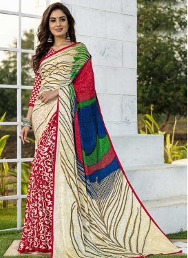 Jacquard Silk Cream and Red Digital Print Work Half N Half Trendy Saree